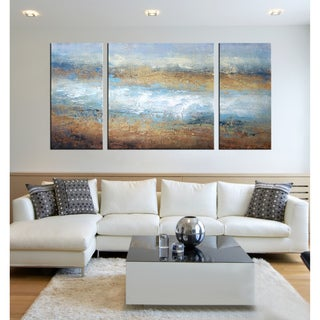 Hand-painted 'The Tide of Colors' 3-piece Gallery-wrapped Art Set