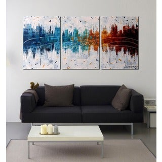 Hand-painted 'Reflection of Color' 3-piece Gallery-wrapped Canvas Art Set