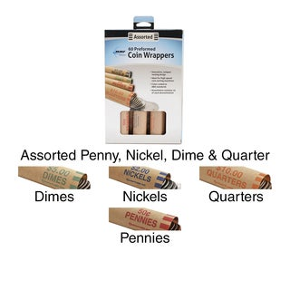 Nested Preformed Coin Wrappers 60/Pkg