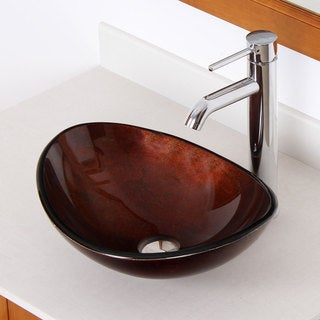 Elite Oval Tempred Glass Artistic Bronze Bathroom Vessel Sink And Faucet Combo