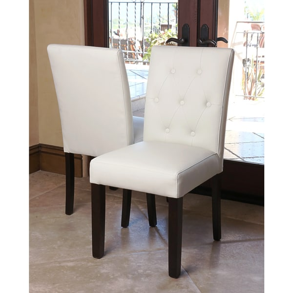 Ivory Leather Dining Room Chairs: Shop ABBYSON LIVING Daniel Tufted Ivory Leather Dining Chair (Set Of 2)