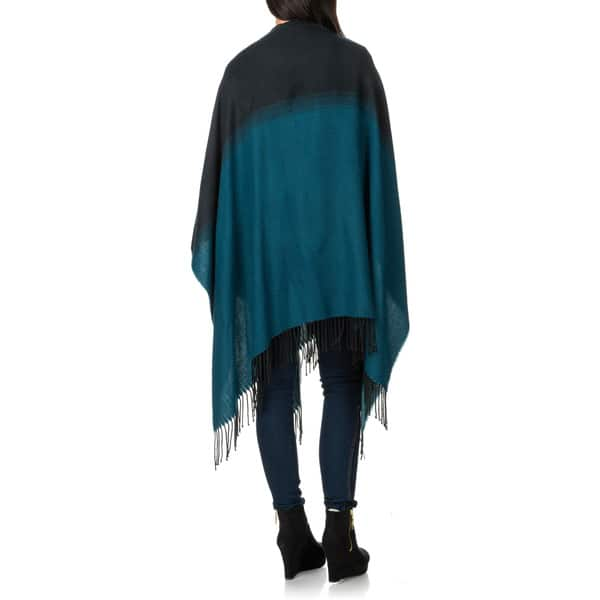 New David /& Young Women/'s Solid Knit Poncho Wrap with Toggle and Fringe