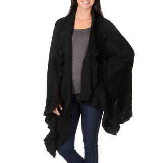 La Cera Women's Ruffled-end Shawl (Option: Black)