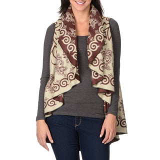La Cera Women's Swirl Print Poncho (Option: Brown/Taupe-O/S)