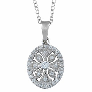 Fremada Rhodium-plated Sterling Silver and Cubic Zirconia Vintage Oval Pendant Necklace (18 inch)