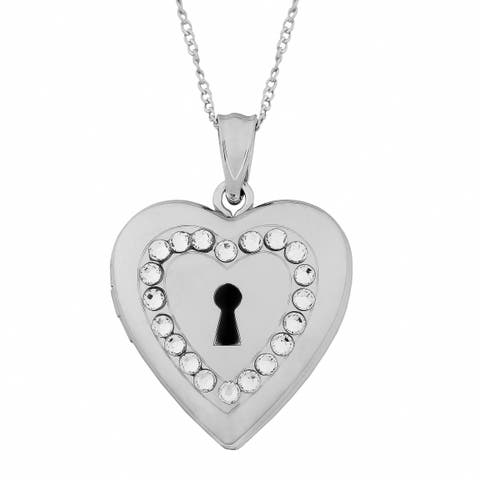 Fremada Sterling Silver Keyhole Heart Crystals Locket Necklace (18 inch)