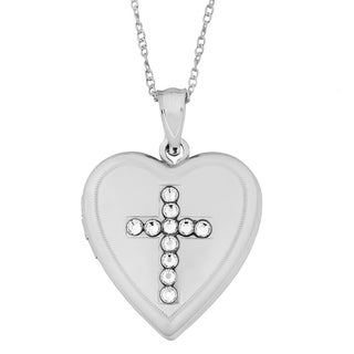 Fremada Sterling Silver Heart With Cross Crystals Locket Necklace (18 inch)