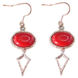 De Buman 18k Rose Gold Plated Red Coral Earrings