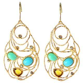 De Buman 18k Gold Plated Crystal and Turquoise Earrings