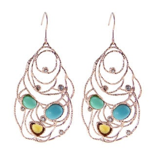 De Buman 18k Rose Gold Plated Crystal and Created Turquoise Earrings