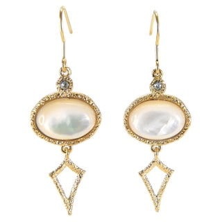 De Buman 18k Gold Plated Mother of Pearl Earrings