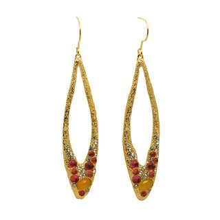 De Buman 18k Gold Plated Jade Earrings