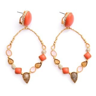 De Buman 18k Gold Plated Red Coral and Natural Multi-colored Crystal Earrings