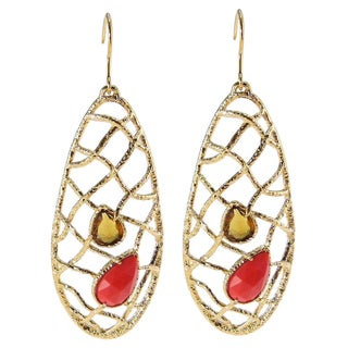 De Buman 18k Gold Plated Pear-cut Red Coral Earrings