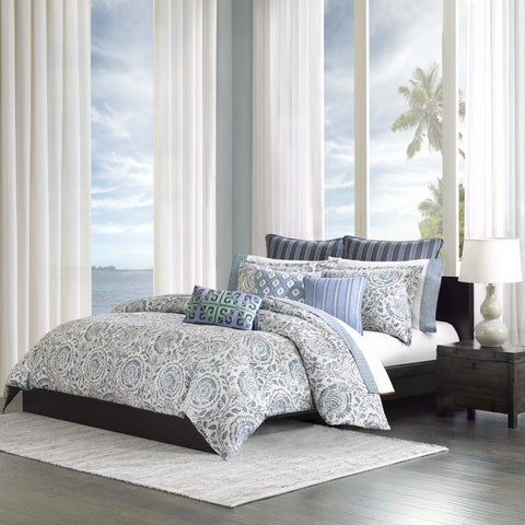 Echo Design Kamala Blue Cotton Duvet Cover Set