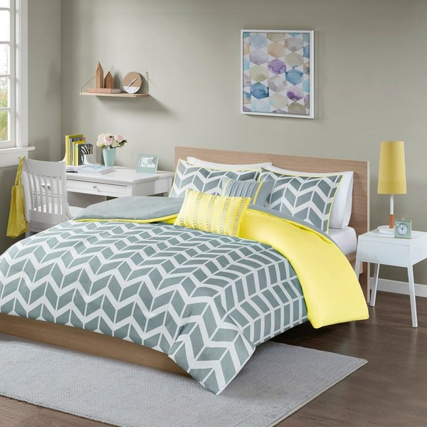 Intelligent Design Ella Yellow/ Grey 5-piece Duvet Cover Set
