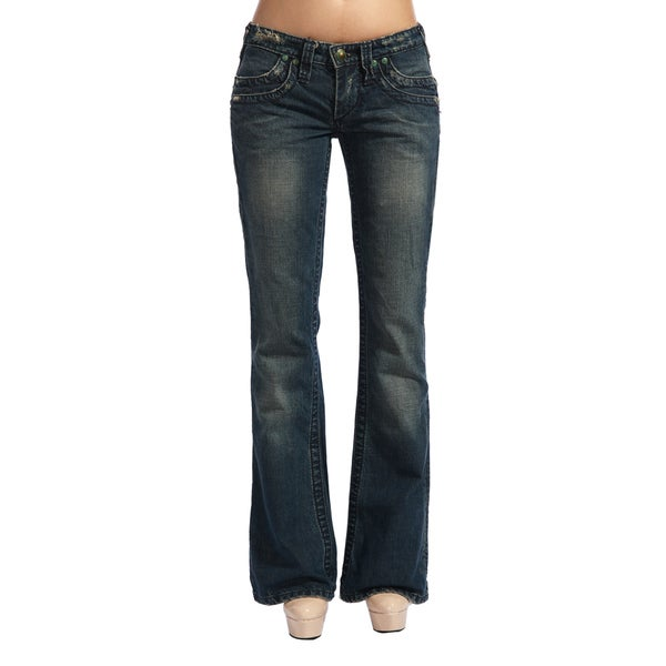Stitch's Women's Low-rise Frayed Hem Boot Cut Jeans