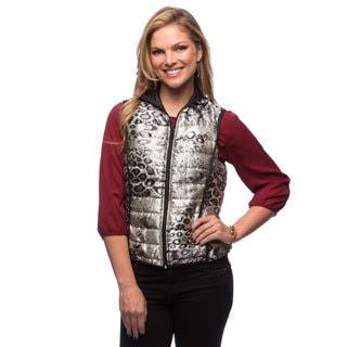 Live A Little Women's Silver Reversible Puffy Vest