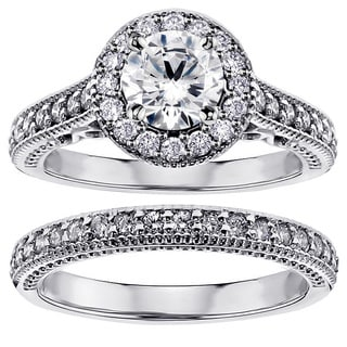 14k/ 18k White Gold 1 3/4ct TDW White Diamond Halo Engagement Bridal Ring Set
