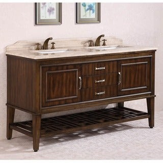 Legion Furniture Travertine Top 65 inch Double Sink Bathroom Vanity in Walnut Finish