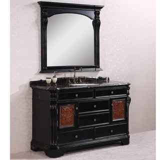 Legion Furniture Exclusive Marble Top 60-inch Single Sink Antique Espresso Bathroom Vanity with Matching Wall Mirror