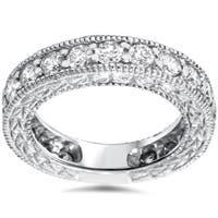 14k White Gold 1 2/5ct TDW Vintage-inspired Diamond Wedding Band