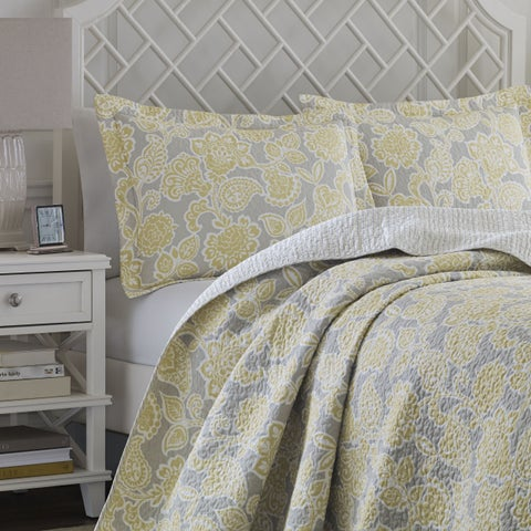 Laura Ashley Joy Grey/ Yellow Reversible Cotton 3-piece Quilt Set