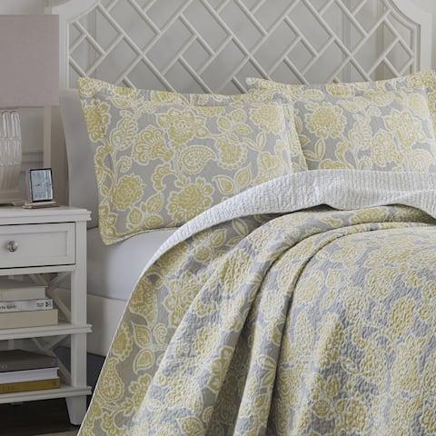 Laura Ashley Joy Grey/ Yellow Reversible Cotton 3-piece Quilt Set