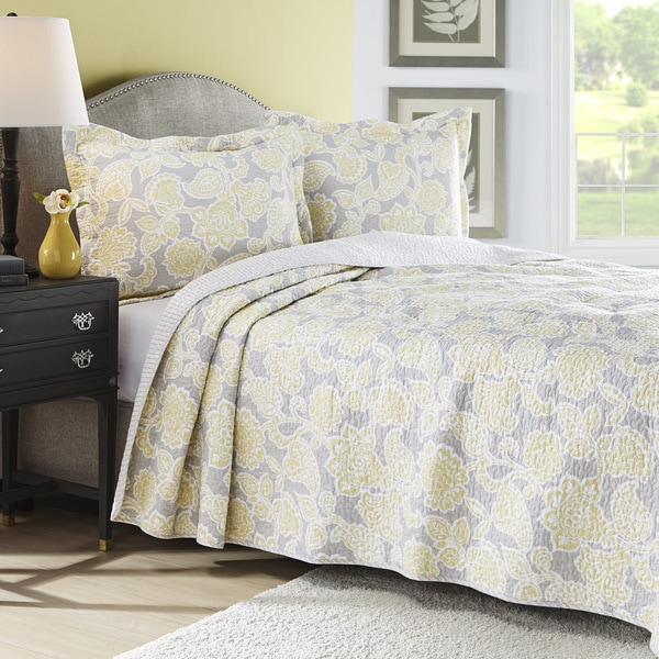 Gray And Yellow Daybed Bedding : Laura ashley joy grey yellow reversible piece cotton