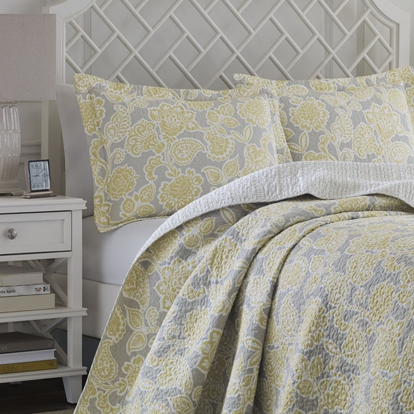 Laura Ashley Joy Grey Yellow Reversible Cotton 3 Piece Quilt Set