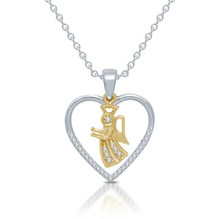 "Unending Love Sterling Silver 10k Yellow Gold 1/8ct TDW ""Silhouettes Of Love"" Heart and Angel Pendant (I-J, I2-I3)"