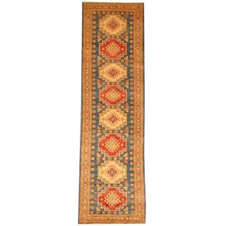 Herat Oriental Afghan Hand-knotted Tribal Kazak Light Blue/ Ivory Wool Rug (2'10 x 10')