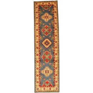 Herat Oriental Afghan Hand-knotted Tribal Kazak Light Blue/ Ivory Wool Rug (2'9 x 10'3)