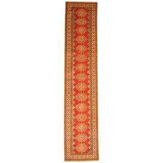 Herat Oriental Afghan Hand-knotted Tribal Kazak Red/ Ivory Wool Rug (2'8 x 12'7)