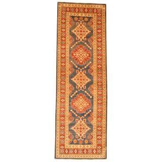 Herat Oriental Afghan Hand-knotted Tribal Kazak Blue/ Red Wool Rug (2'8 x 8'2)