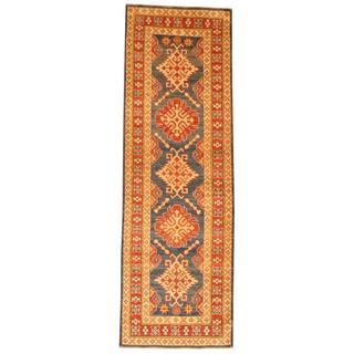 Handmade Herat Oriental Afghan Tribal Kazak Blue/ Red Wool Rug (Afghanistan) - 2'8 x 8'2