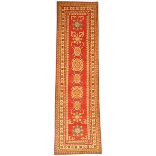 Herat Oriental Afghan Hand-knotted Tribal Kazak Red/ Ivory Wool Rug (2'8 x 8'11)