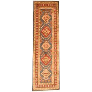 Herat Oriental Afghan Hand-knotted Tribal Kazak Blue/ Red Wool Rug (2'10 x 9'6)