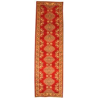 Herat Oriental Afghan Hand-knotted Tribal Kazak Red/ Ivory Wool Rug (2'11 x 8'10)