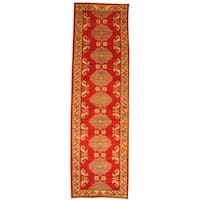 Herat Oriental Afghan Hand-knotted Tribal Kazak Red/ Ivory Wool Rug - 2'11 x 8'10