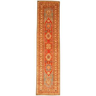 Herat Oriental Afghan Hand-knotted Tribal Kazak Red/ Ivory Wool Rug (2'7 x 10'9)