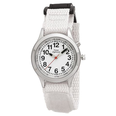 Youth/ Adult Talking Watch with White Hook and Loop Adjustable Strap
