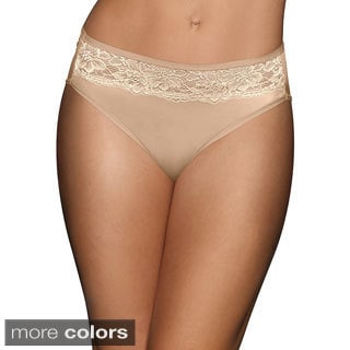 Bali Women's 'One Smooth U' Satin with Lace High-cut Panty