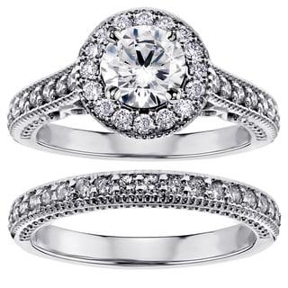 14k/ 18k White Gold 1 2/5ct TDW Diamond Halo Bridal Set (G-H, SI1-SI2)