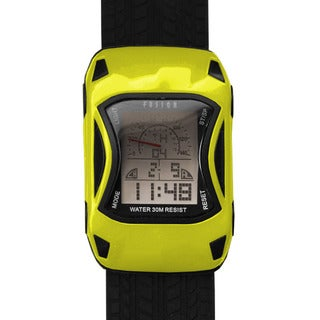 Dakota Fusion Kids' Yellow Digital Racecar Watch