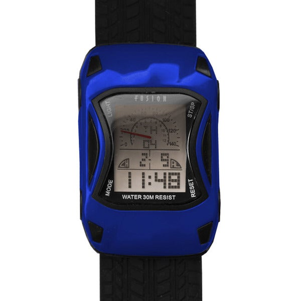 Shop Dakota Fusion Kids' Blue Digital Racecar Watch - Free ...