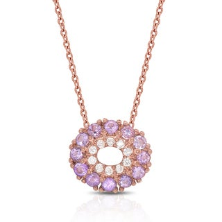 Dolce Giavonna Rose Gold Over Sterling Silver Gemstone and Cubic Zirconia Circle Necklace