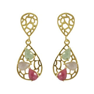 Luxiro Gold Plated Sterling Silver Multi-colored Teardrop Gemstone Dangle Earrings