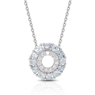 Dolce Giavonna Sterling Silver Gemstone and Cubic Zirconia Circle Necklace