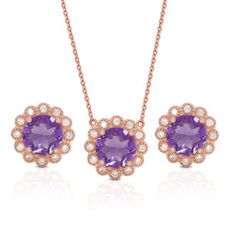 Dolce Giavonna Gold Over Sterling Silver Gemstone Necklace and Earrings Set